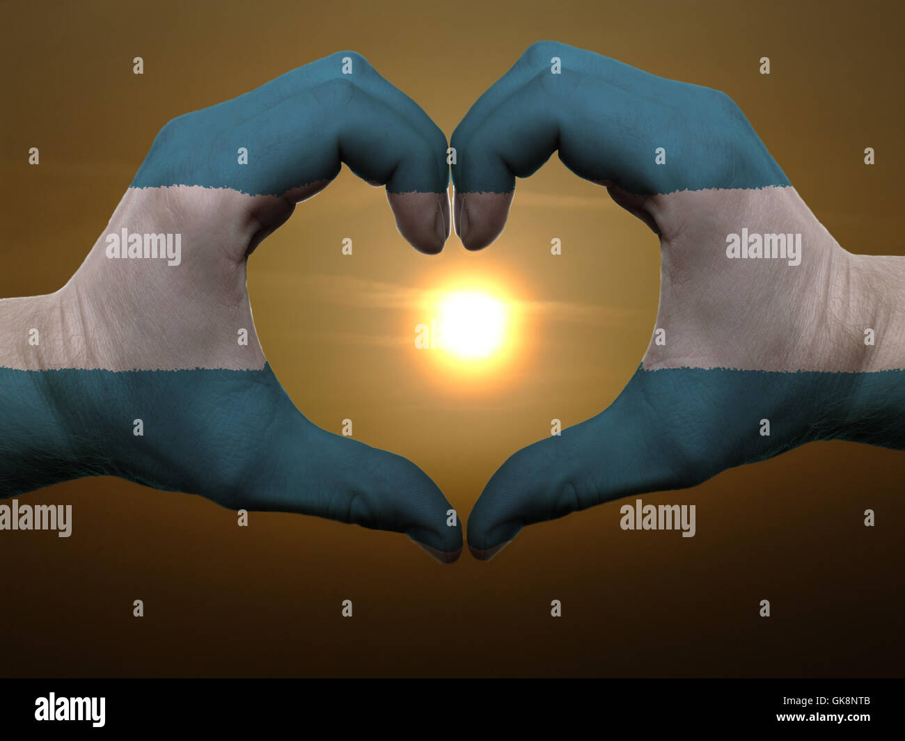 gesture sunrise flag - Stock Image