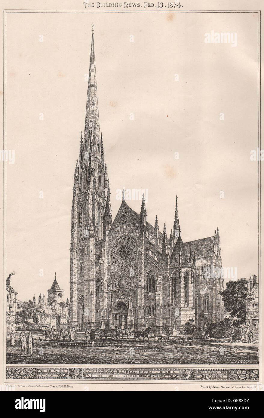 Church of our Lady & St. Philip, Arundel, built for the Duke of Norfolk, 1874 - Stock Image