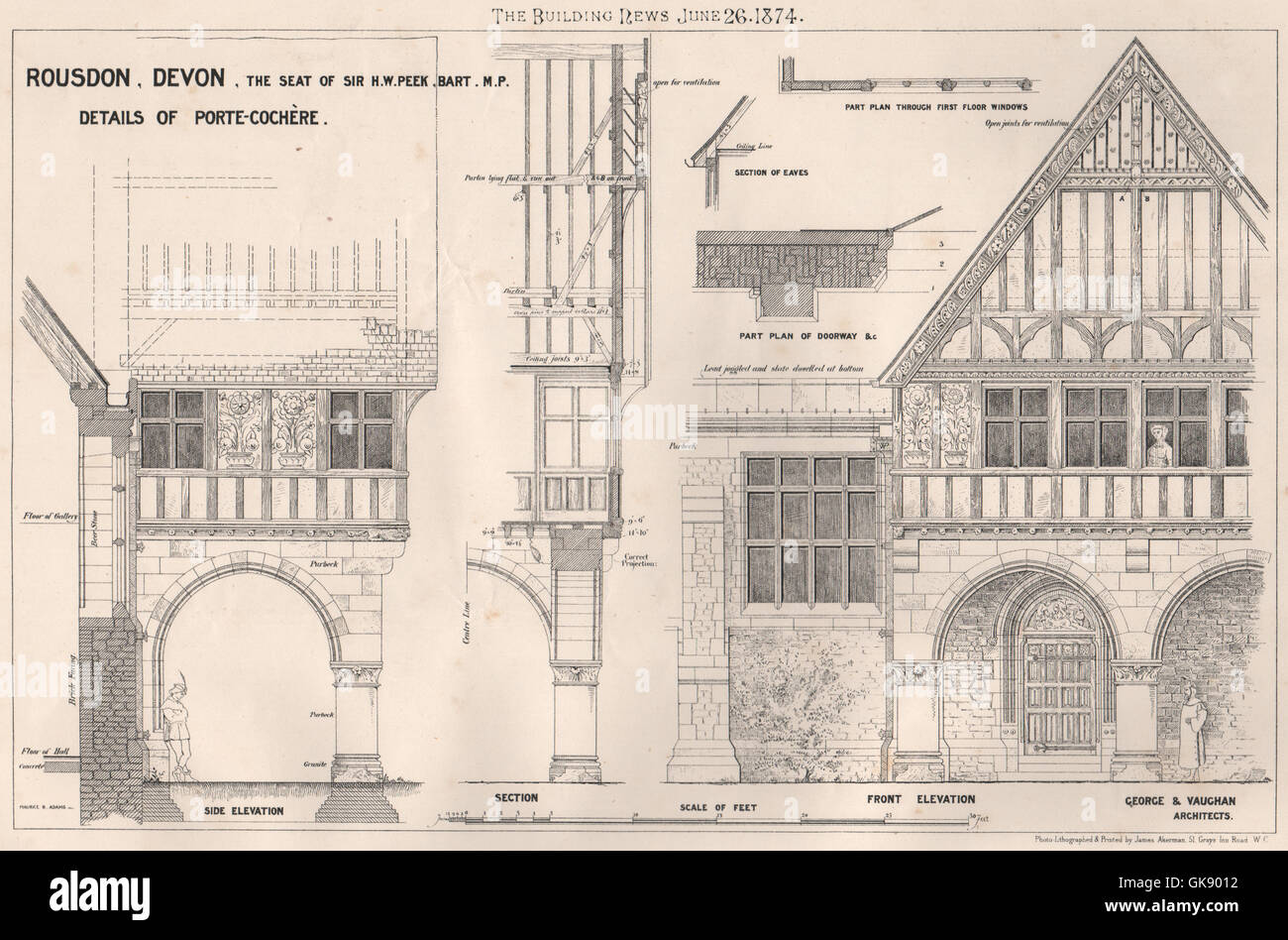 Rousdon, Devon (Sir HW Peek). Porte-Cochère; George & Vaughan Architects, 1874 - Stock Image