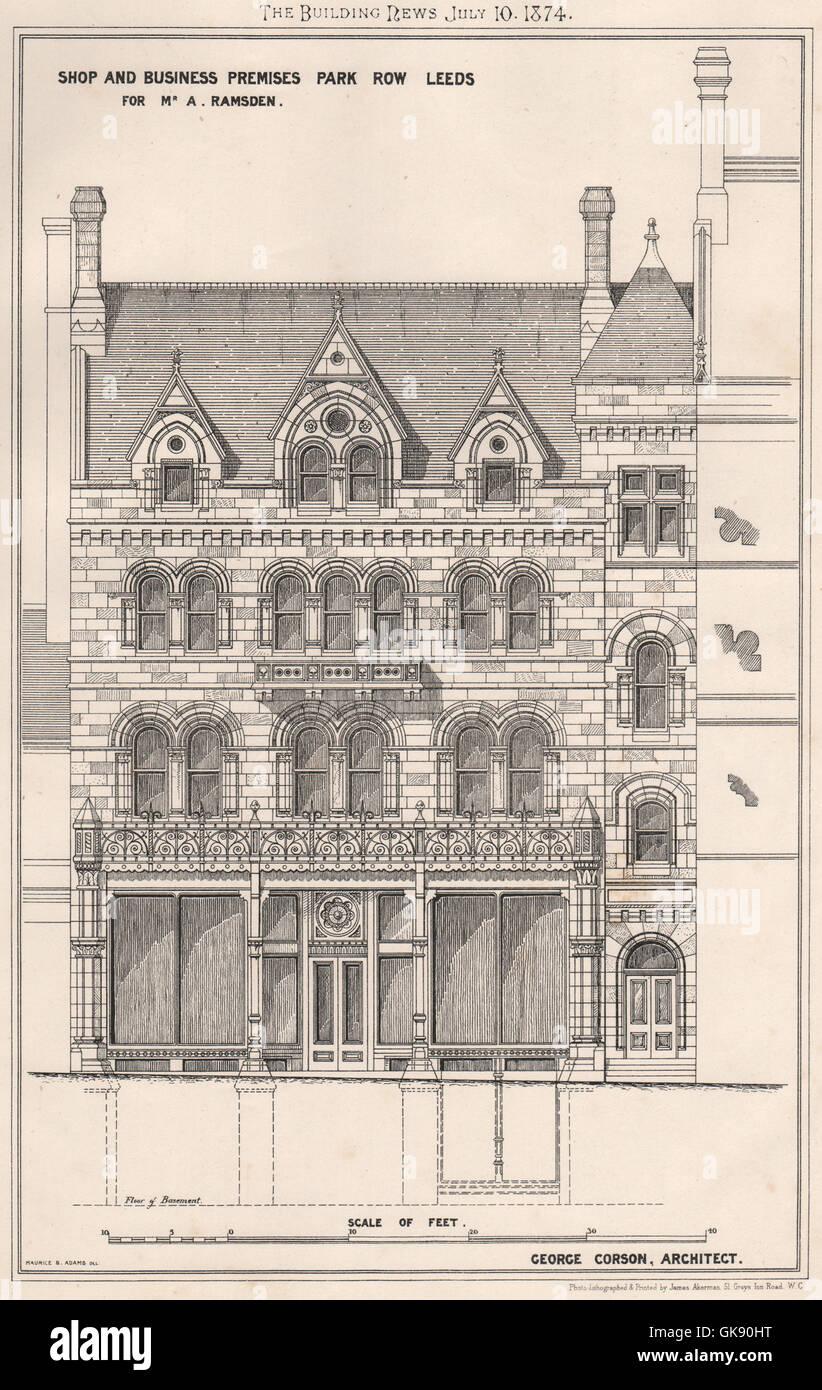A Ramsden shop & business premises, Park Row, Leeds; George Corson Archt, 1874 Stock Photo