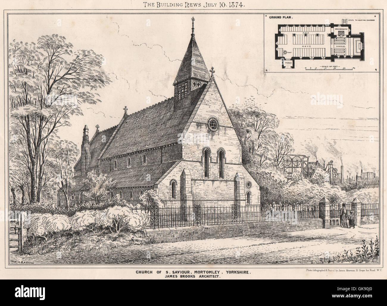 St Saviour/'s Church 1865 LANCS Bacup antique print Lancashire