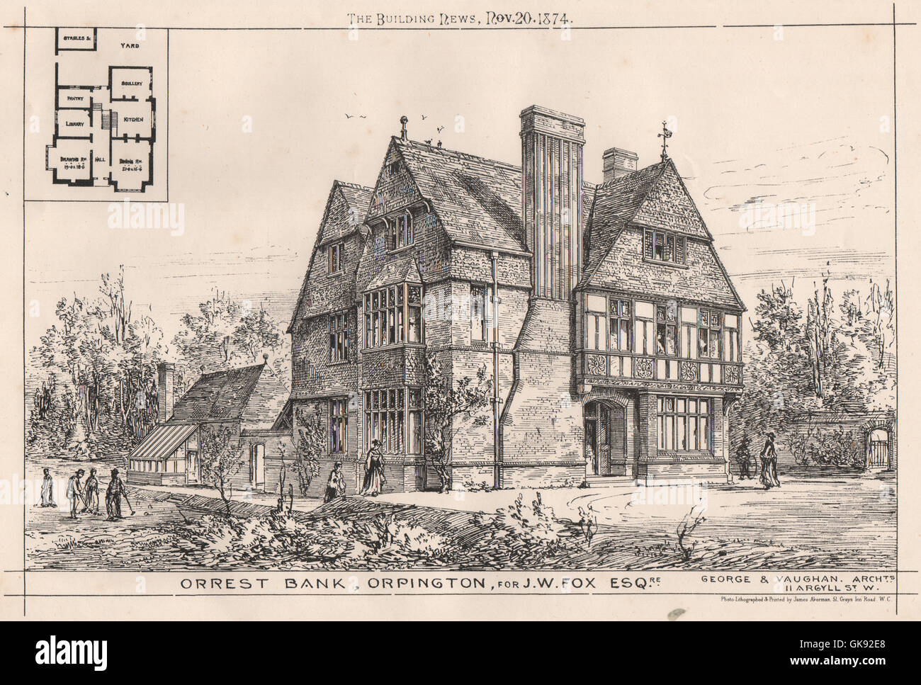 Orrest Bank, Orpington, for J.W. Fox; George & Vaughan Architects, print 1874 - Stock Image