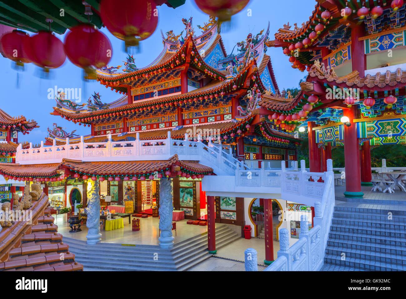 Thean Hou Buddhist Temple at dusk, Kuala Lumpur, Malaysia - Stock Image