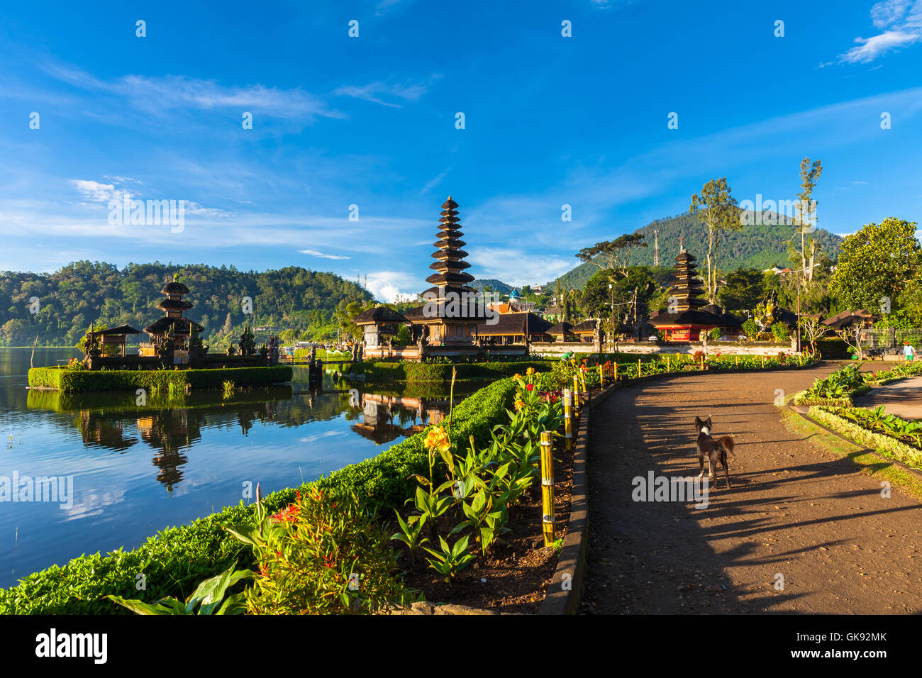 Pura Ulun Danu Bratan at sunrise, famous temple on the lake, Bedugul, Bali, Indonesia. Stock Photo