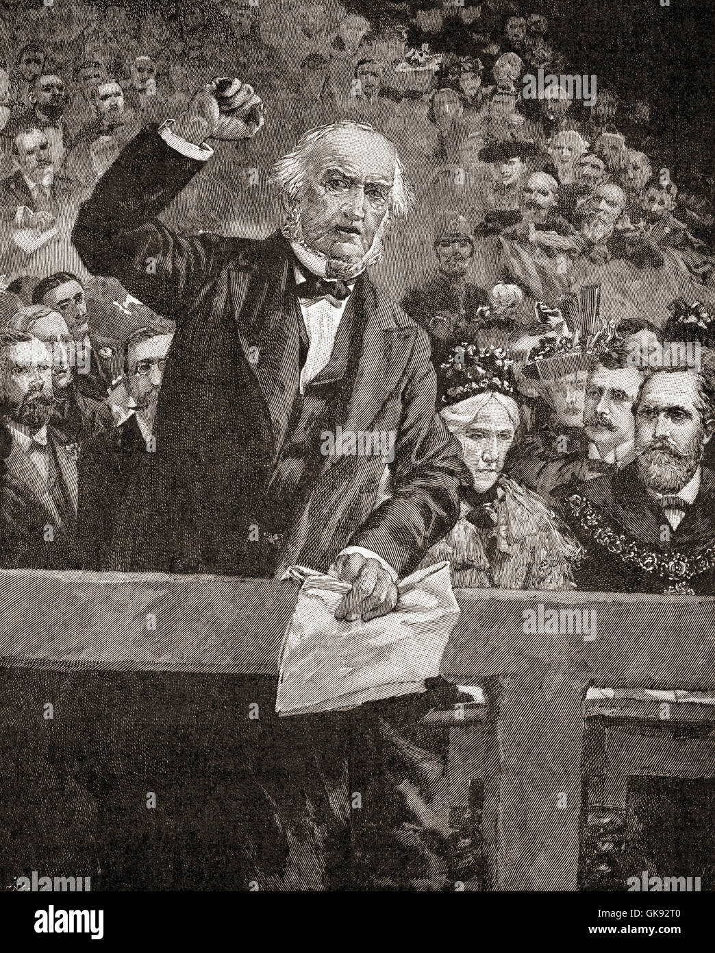 William Gladstone  in a talk delivered at Liverpool in 1896, denouncing the atrocities committed against the Armenians Stock Photo