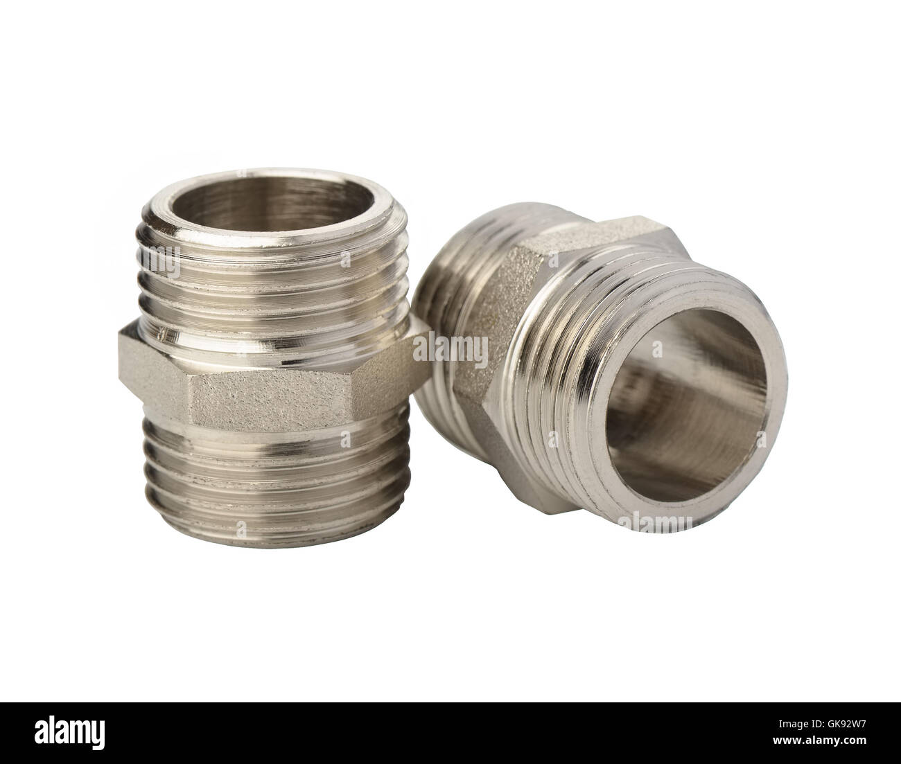 Fasteners of metal for flexible hoses on a white background - Stock Image