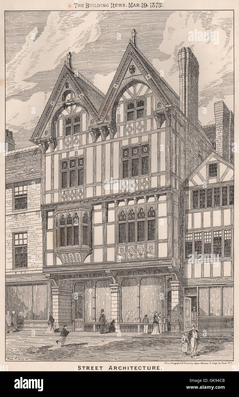 Street architecture. Buildings, antique print 1875 - Stock Image