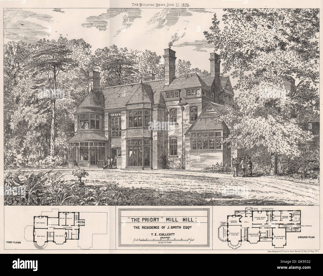'The Priory', Mill Hill; the residence of J. Smith; T.E. Collcutt Archt, 1875 - Stock Image