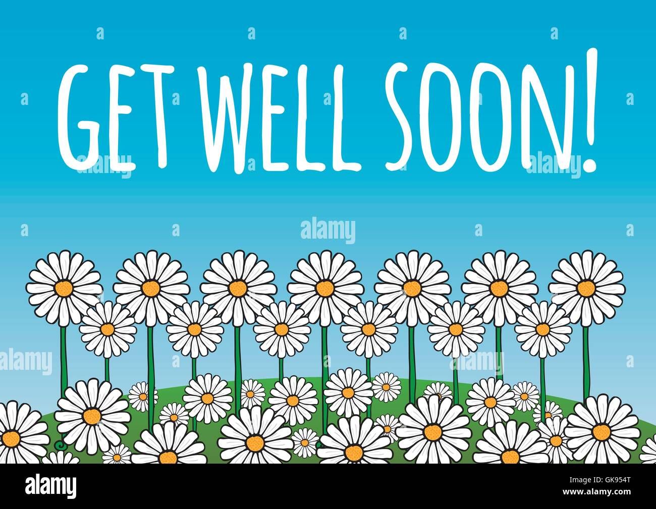 get well soon card poster contains daisy flowers on a green hill