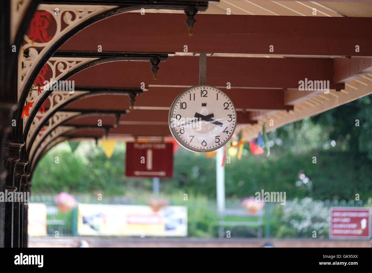 Ravenglass station clock - Stock Image
