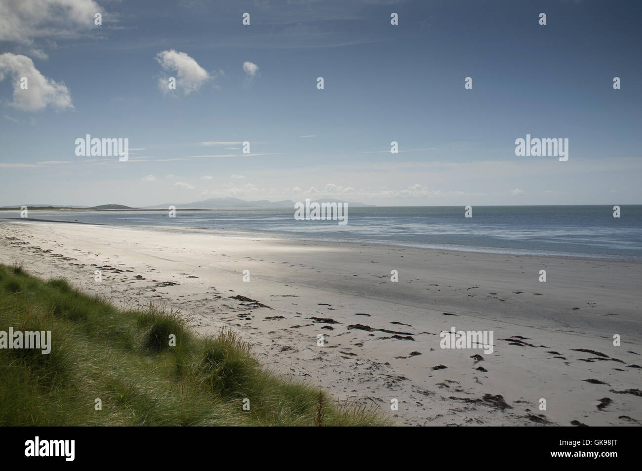 Large empty and unspoilt beach in the Outer Hebrides island of South Uist - Stock Image