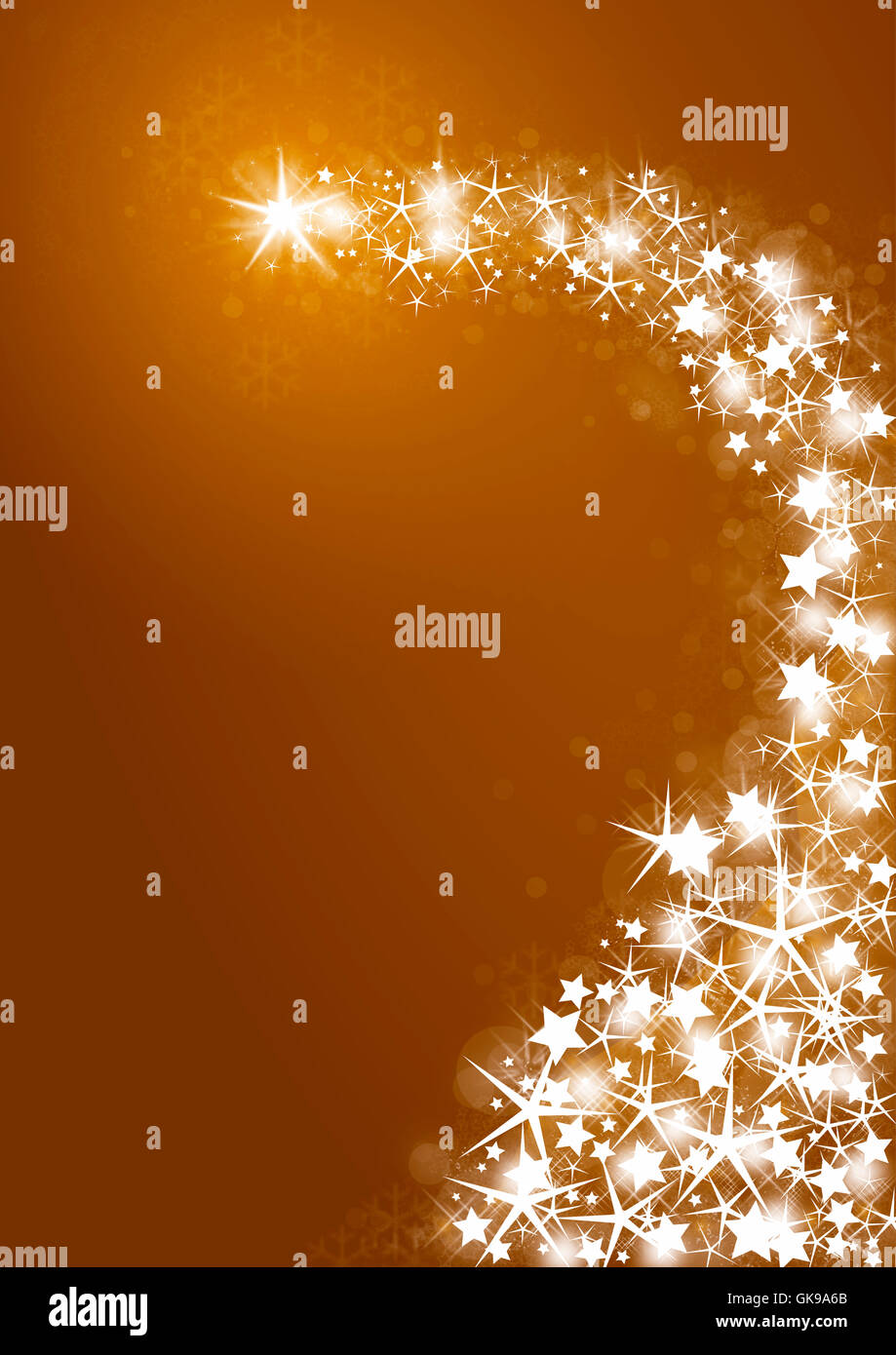 golden christmas background with bright stars - Stock Image