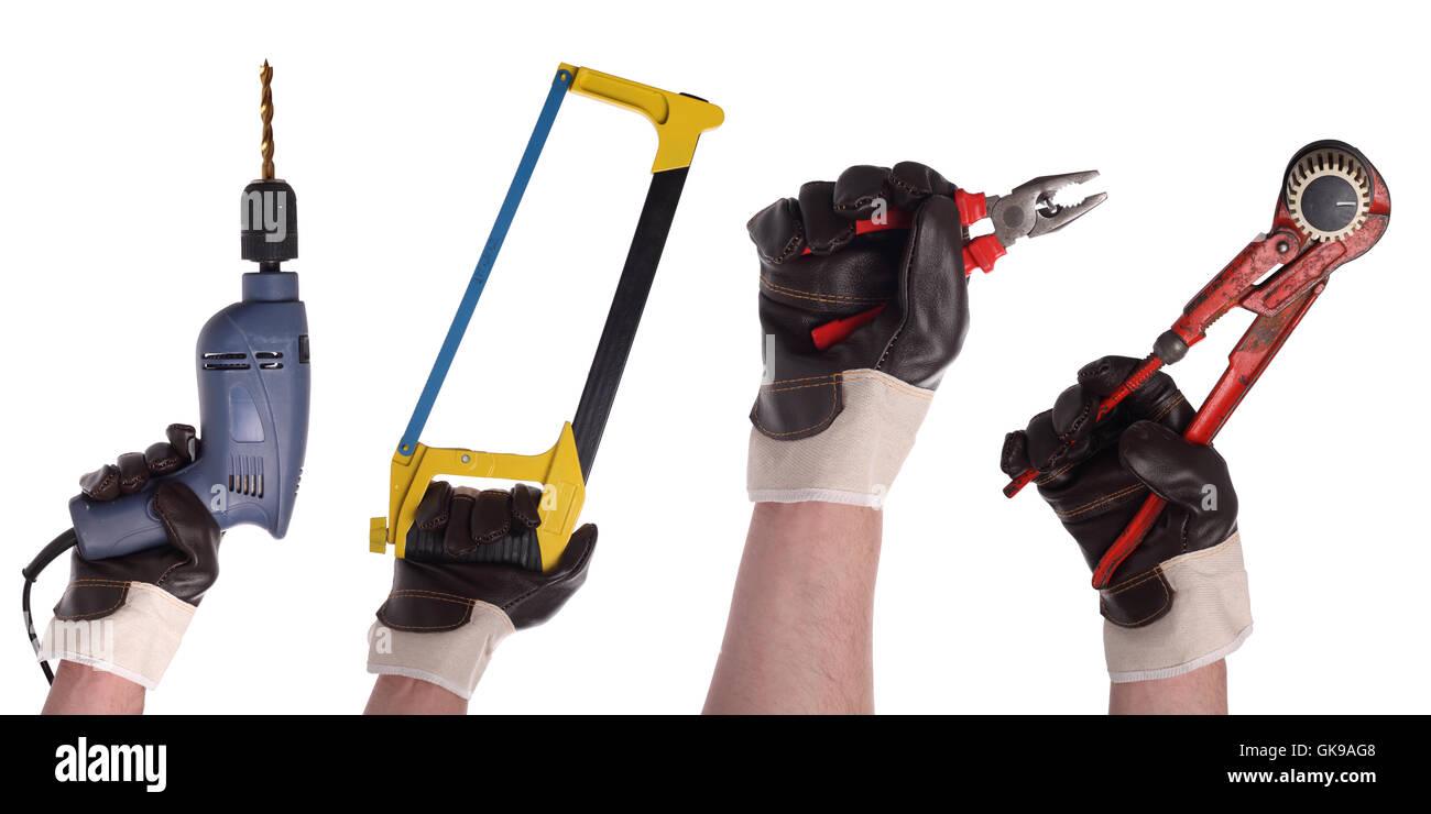 hand tool glove - Stock Image