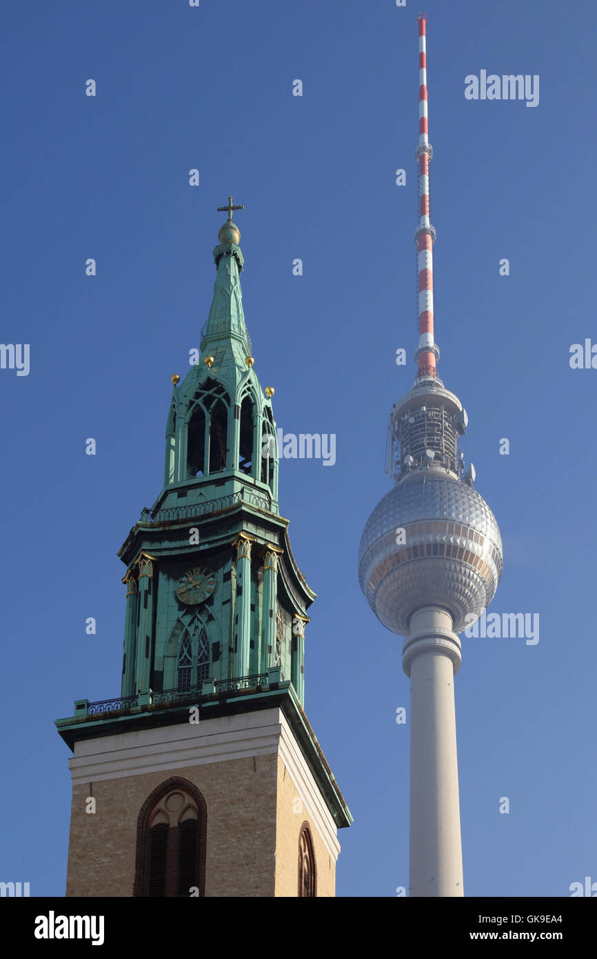 church berlin television tower - Stock Image