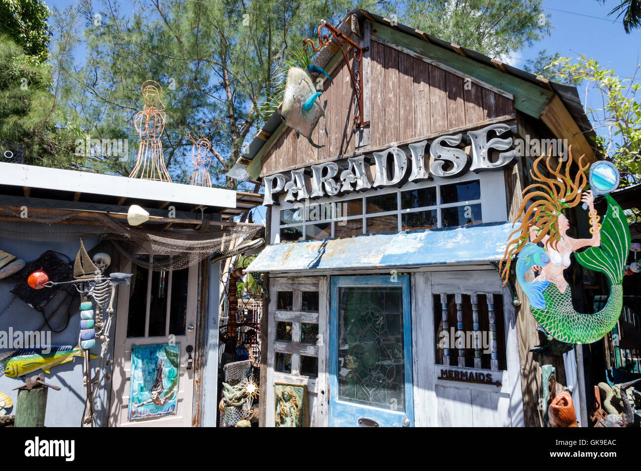 Florida Cortez Sea Hagg shopping business nautical curiosity shop antiques exterior mermaid paradise sign - Stock Image