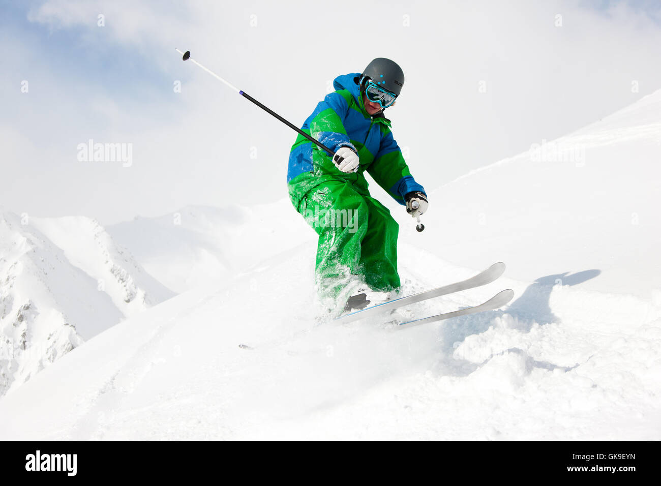 skier on the downhill - Stock Image