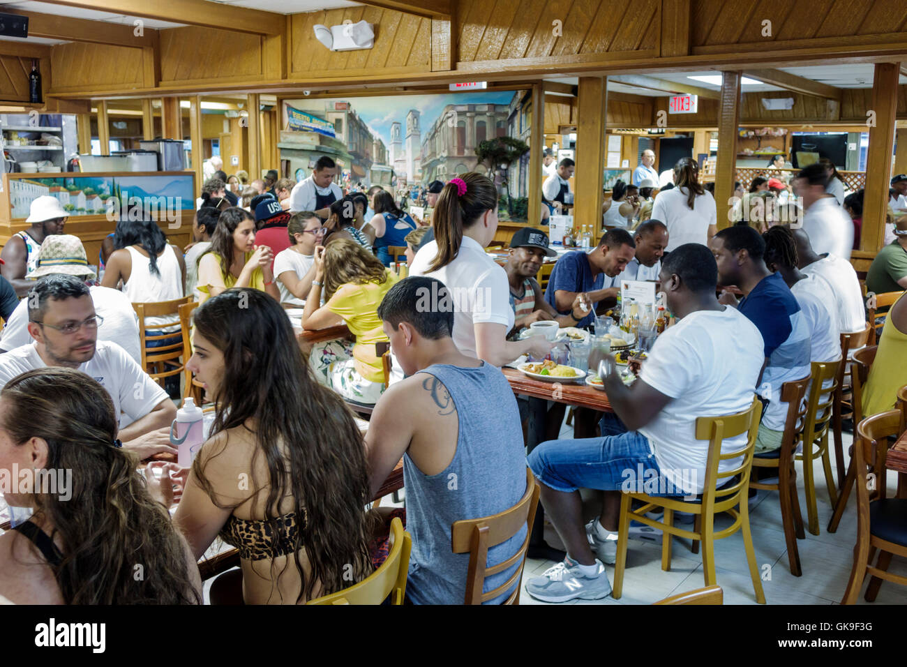 Miami Florida Beach South Beach Collins Avenue Puerto Sagua Restaurant business restaurant dining casual Cuban cuisine - Stock Image