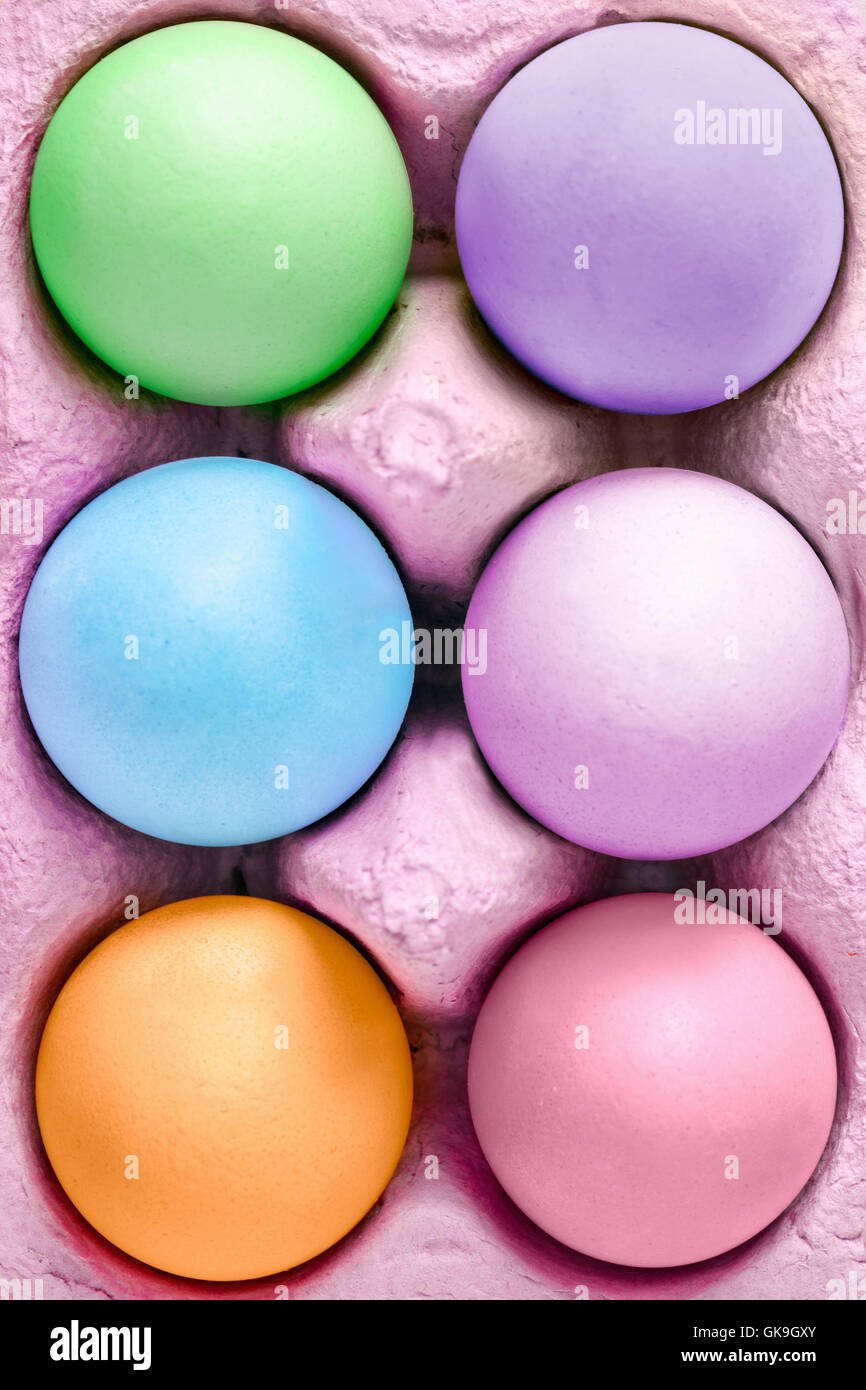 colorful easter eggs in egg box Stock Photo