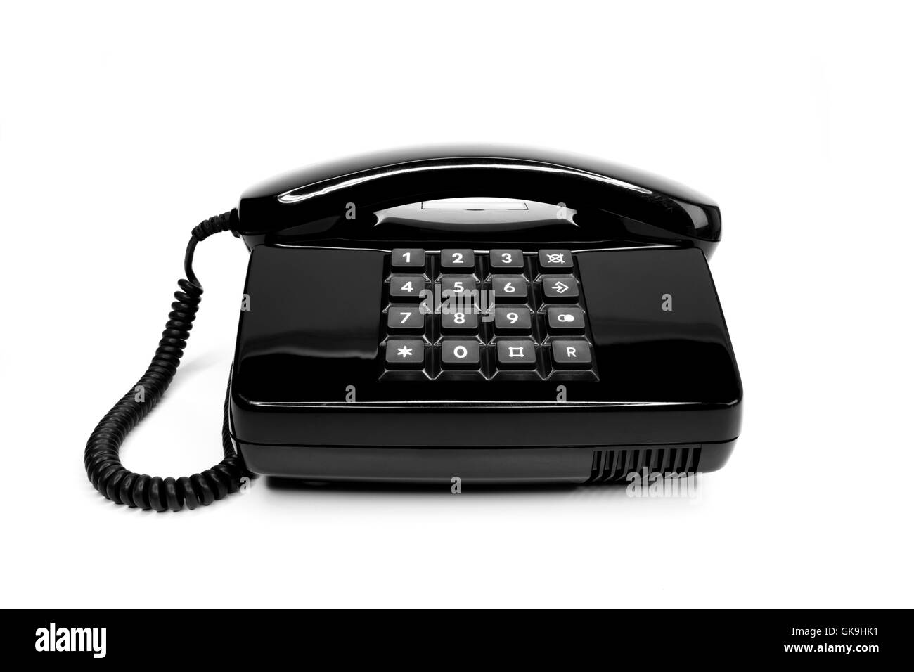 classic black telephone from the eighties - Stock Image