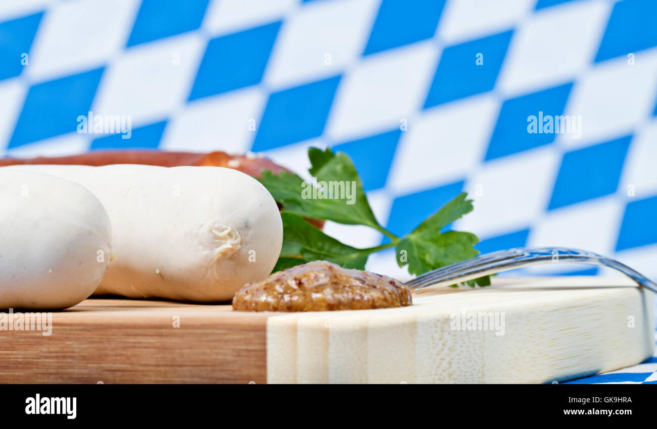 white sausage with mustard Stock Photo