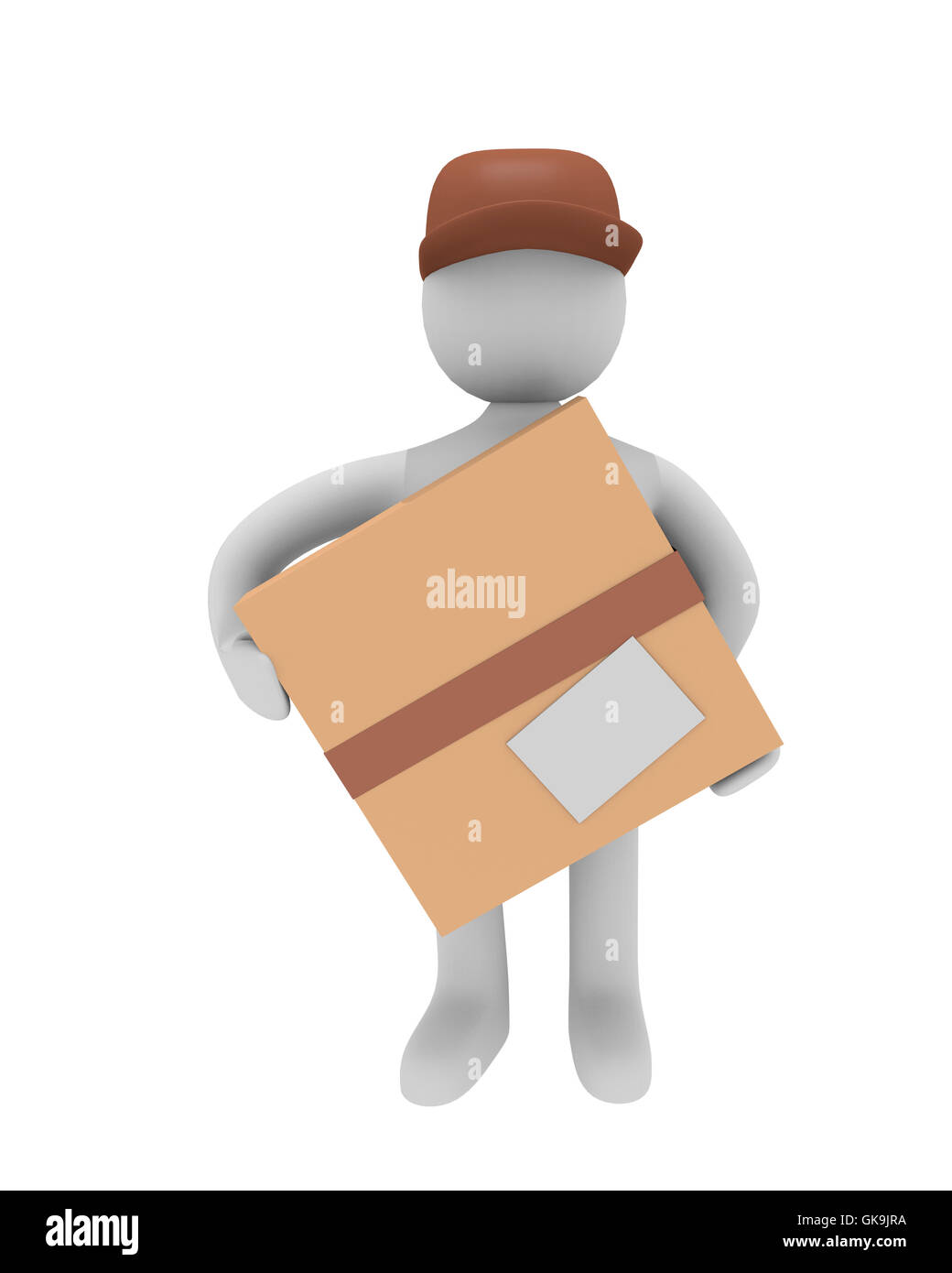 cheerful parcel deliverer isolated on white,3d image Stock Photo