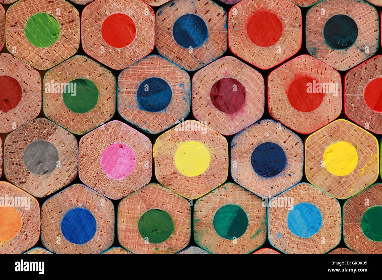 underside of colored pencils - Stock Image