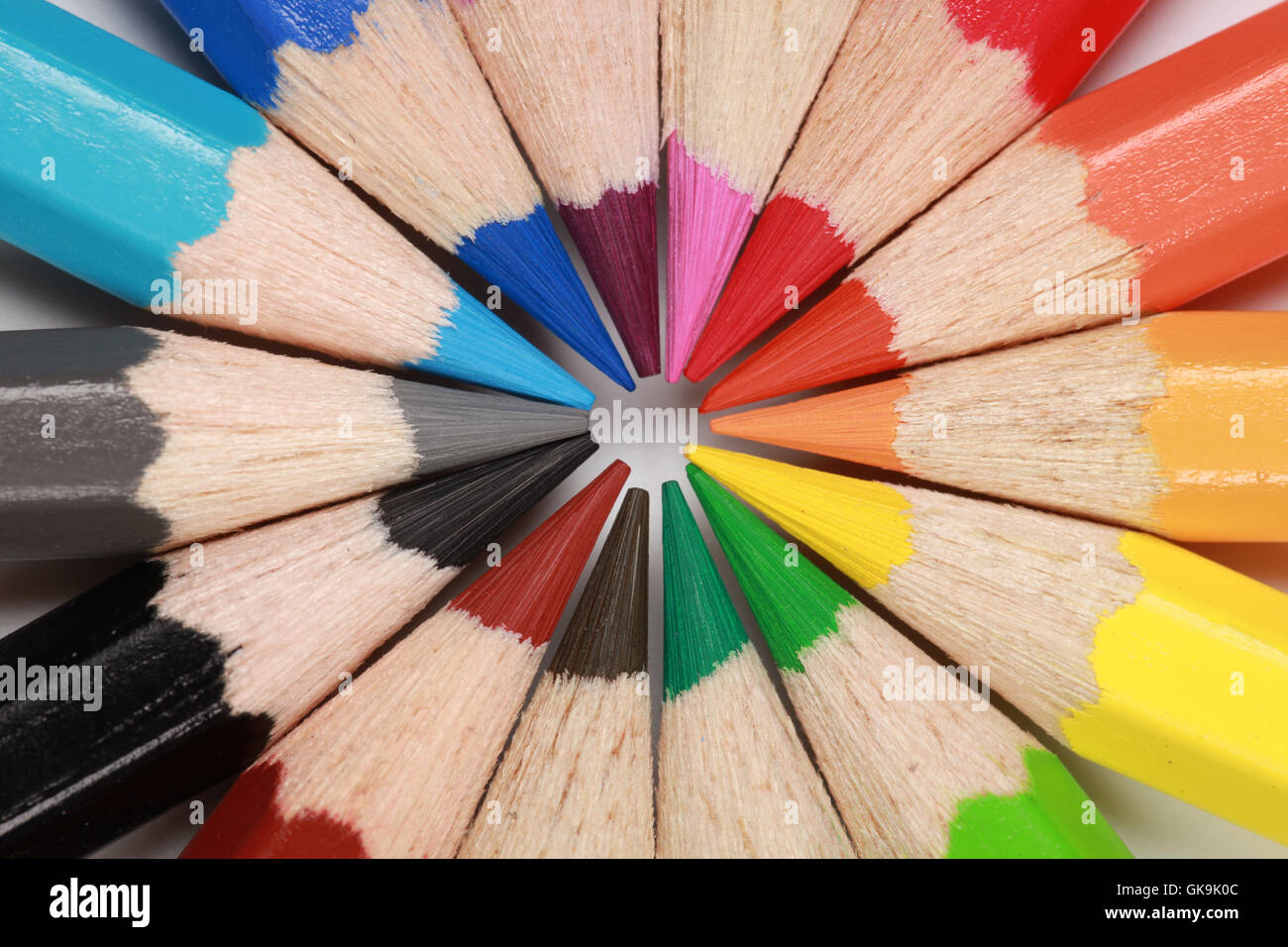 circle from colored pencils Stock Photo
