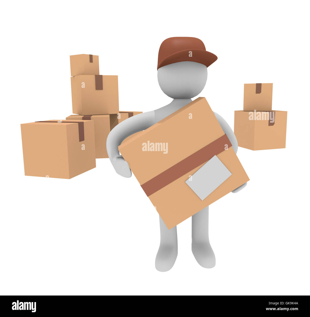 3d man with cardboard boxes Stock Photo