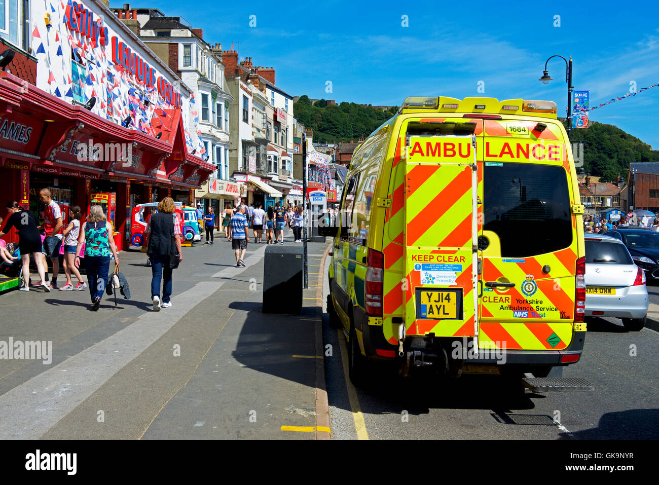 Ambulance parked on the sea front at Scarborough, North Yorkshire, England UK - Stock Image