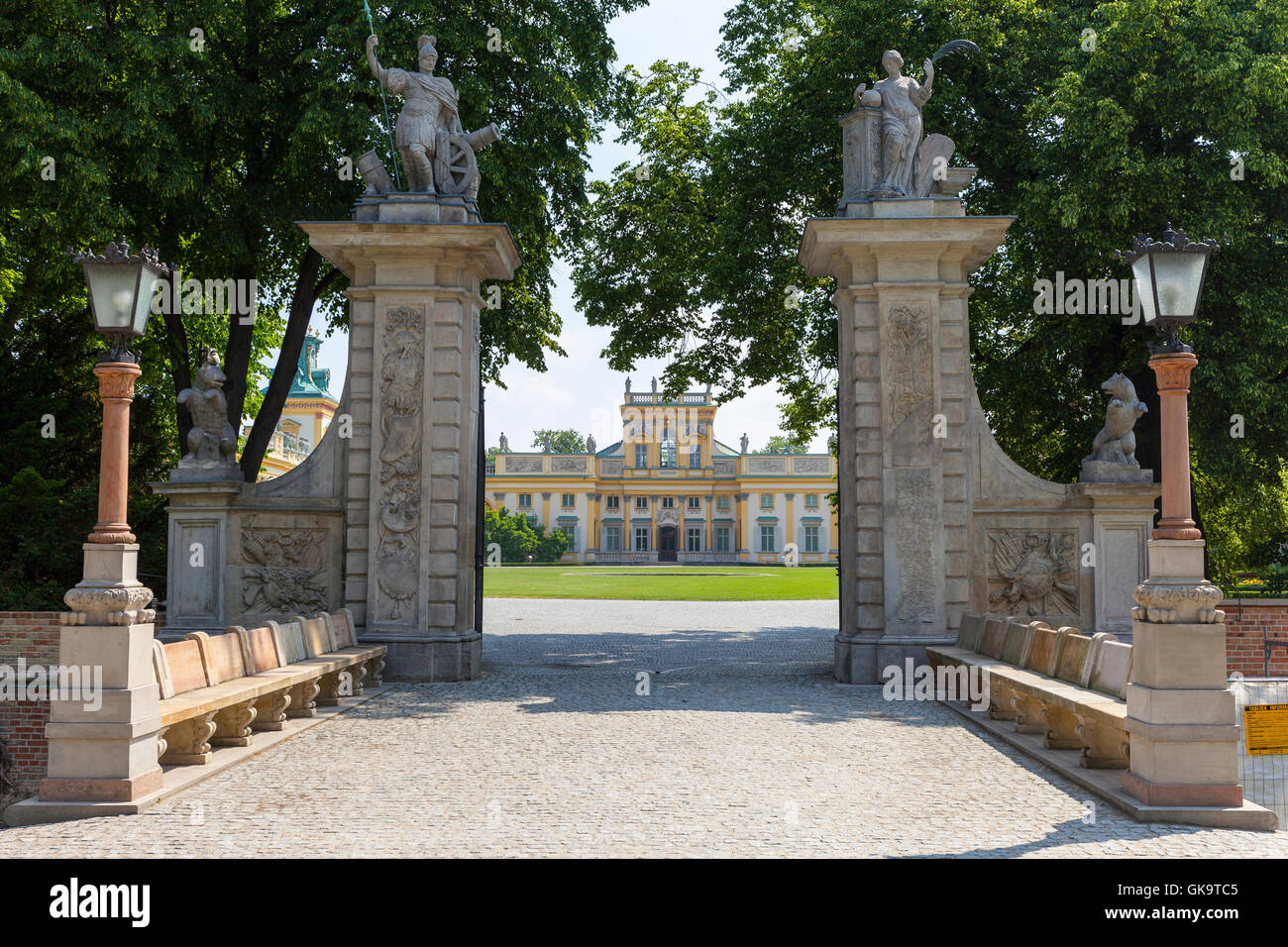 19th century Wilanow Palace in Warsaw, Poland formal garden - Stock Image
