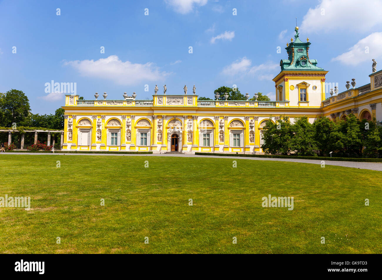 23 century Wilanow Palace in Warsaw, Poland formal garden - Stock Image
