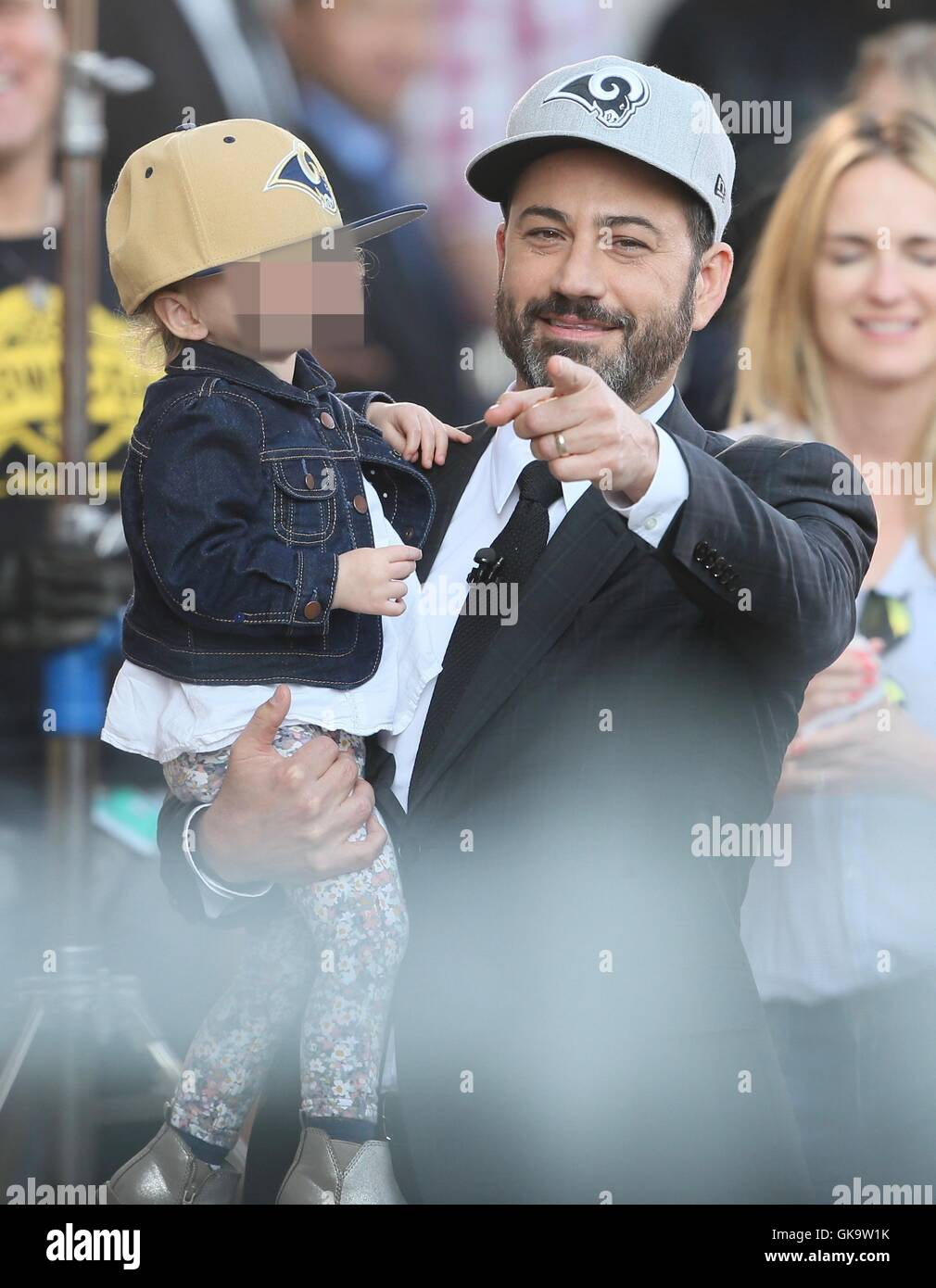 cf0c017ff4ba6 Jimmy Kimmel seen wearing the new LA Rams baseball caps with his daughter  Featuring  Jimmy Kimmel