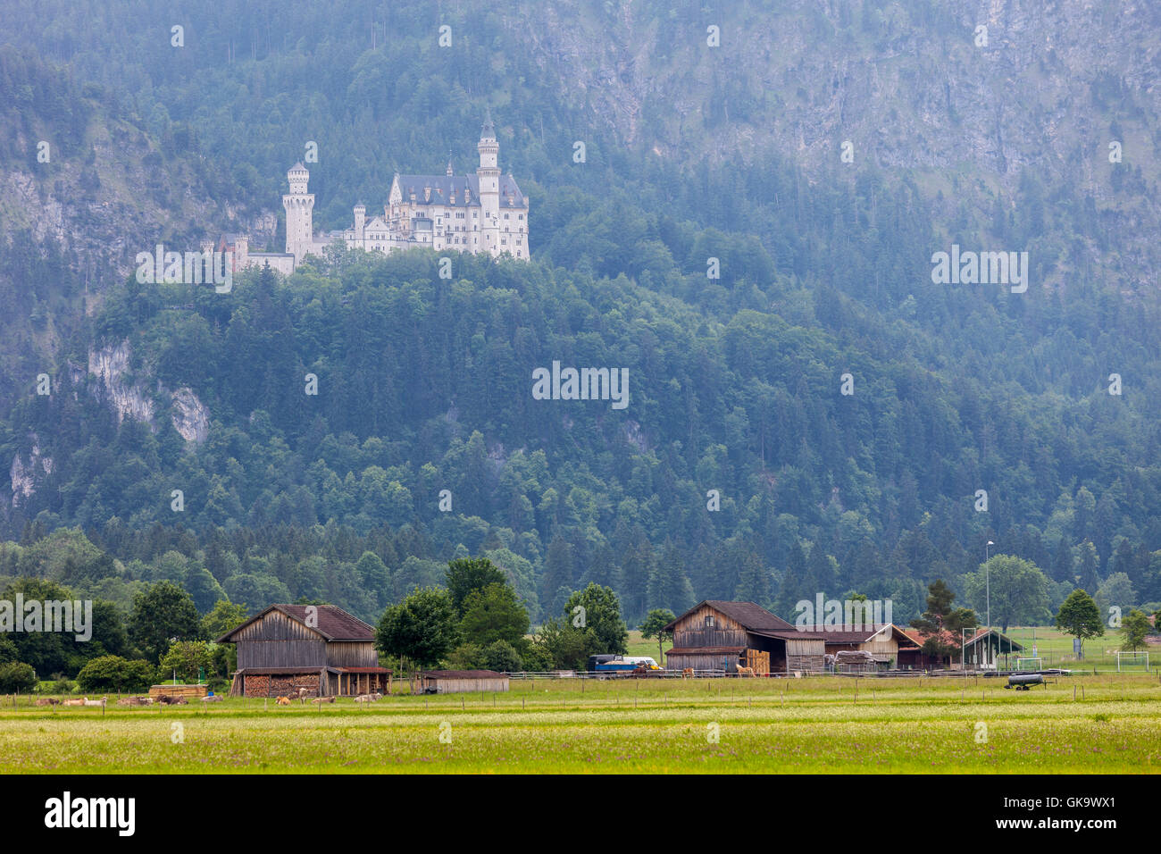 The world-famous Neuschwanstein Castle, the 19th century Romanesque Revival palace built by King Ludwig II of beautiful - Stock Image