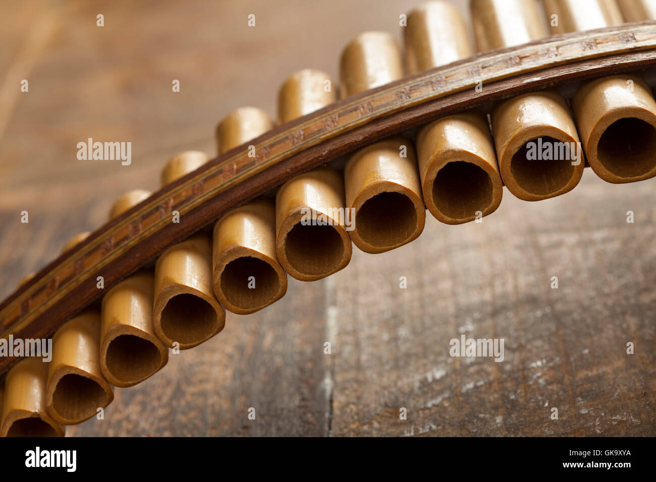 Pan flute instrument close up - Stock Image