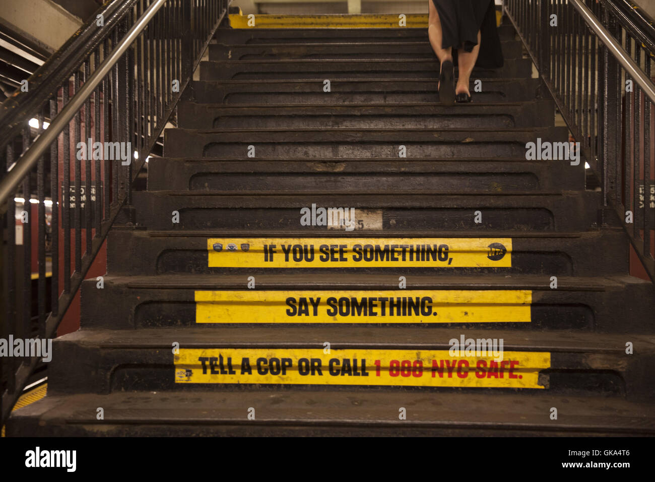 'IF You See Something Say Something' started showing up in the subway system after the 9/11 terrorist attack - Stock Image