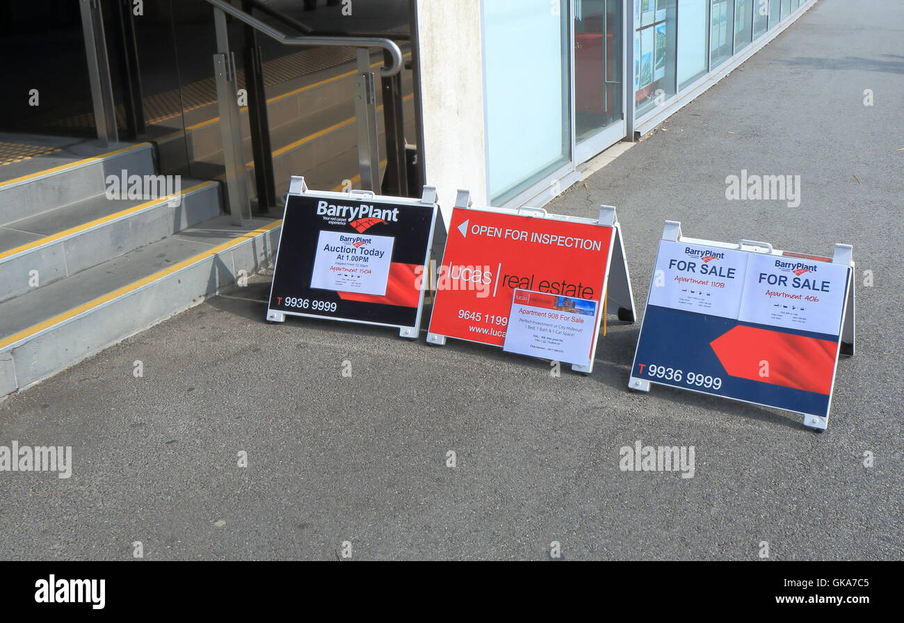 Apartment Open For Inspection Signs In Melbourne Australia Stock