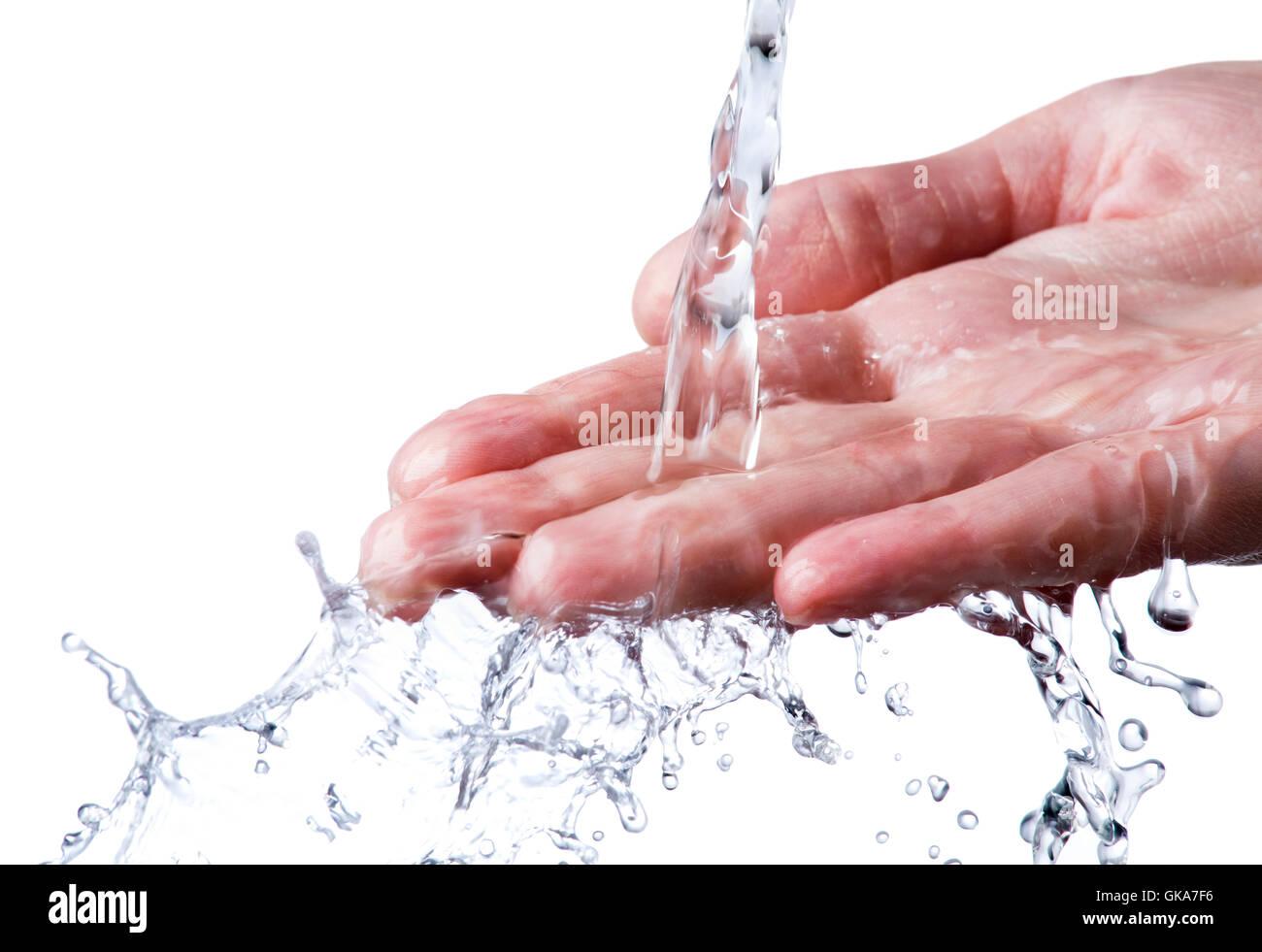 hand wash wet - Stock Image