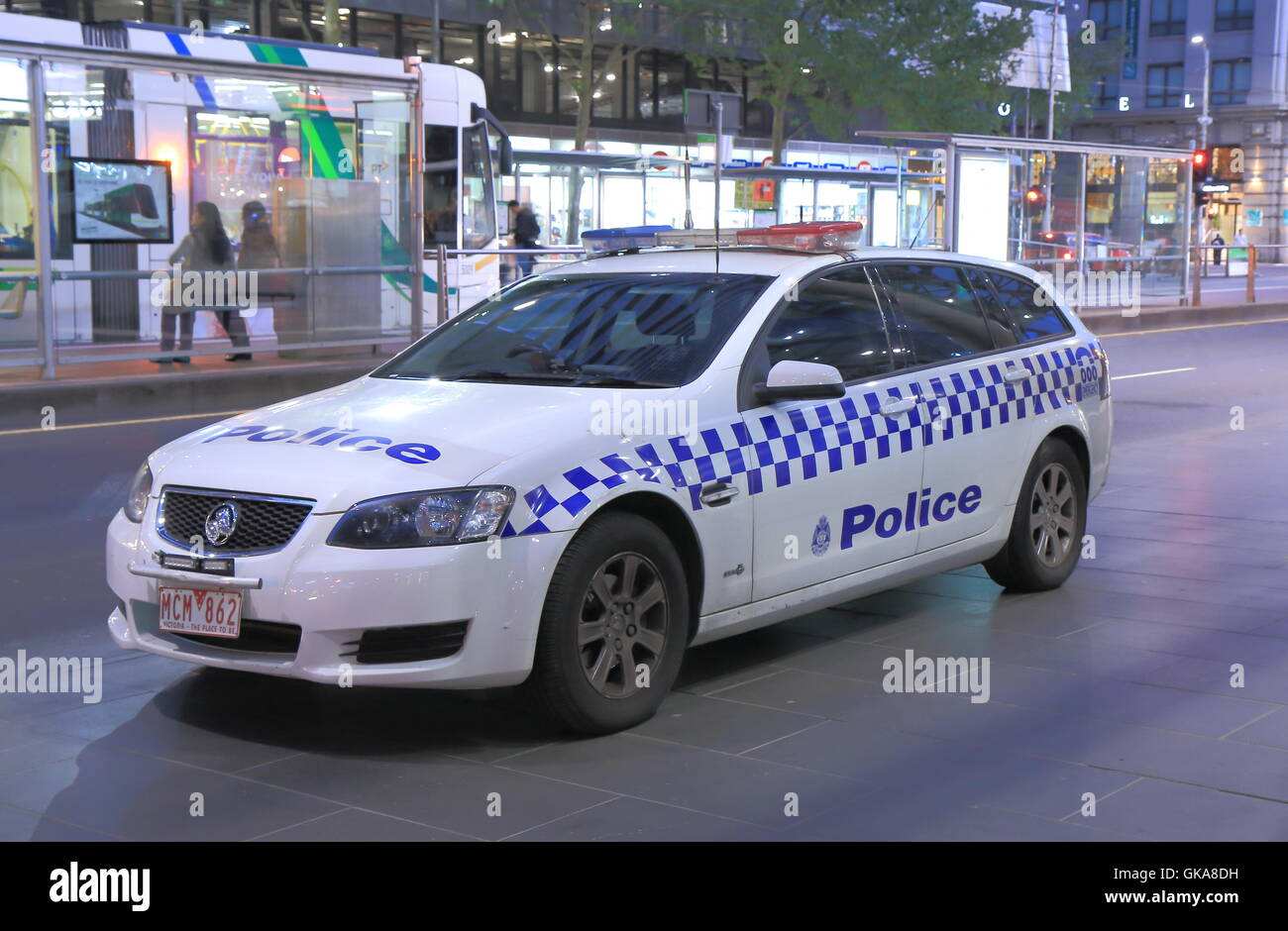 Police Car parked at Southern Cross Stationin Melbourne Australia. - Stock Image