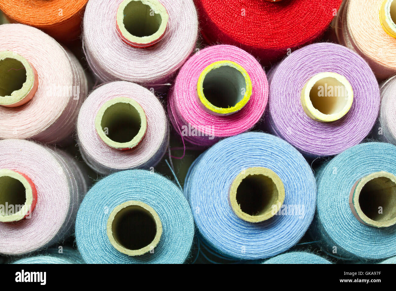 colored cotton reels Stock Photo