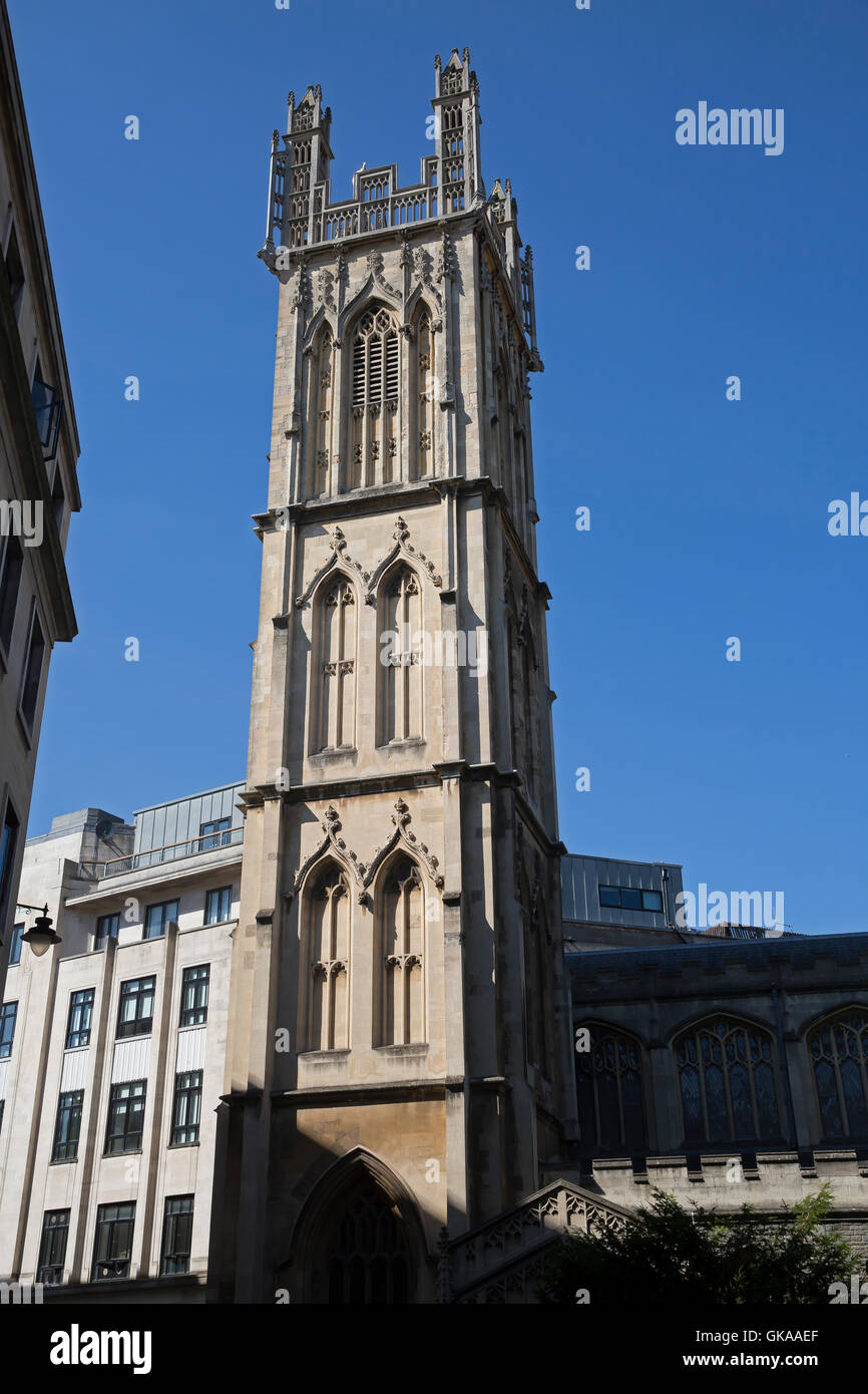 Blue skies over a church in Bristol - Stock Image