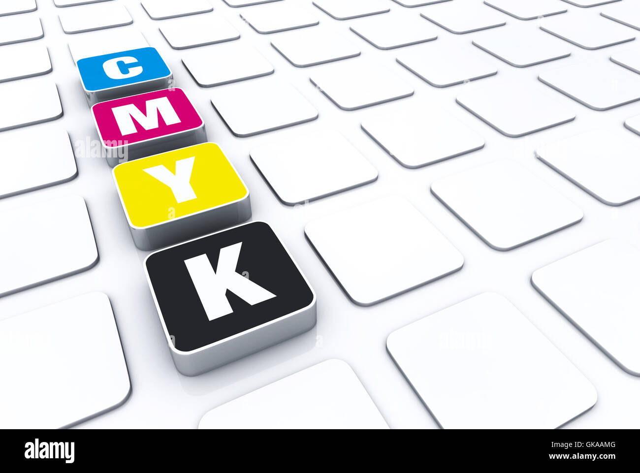 cmyk 3d pad symbolism 2 - Stock Image