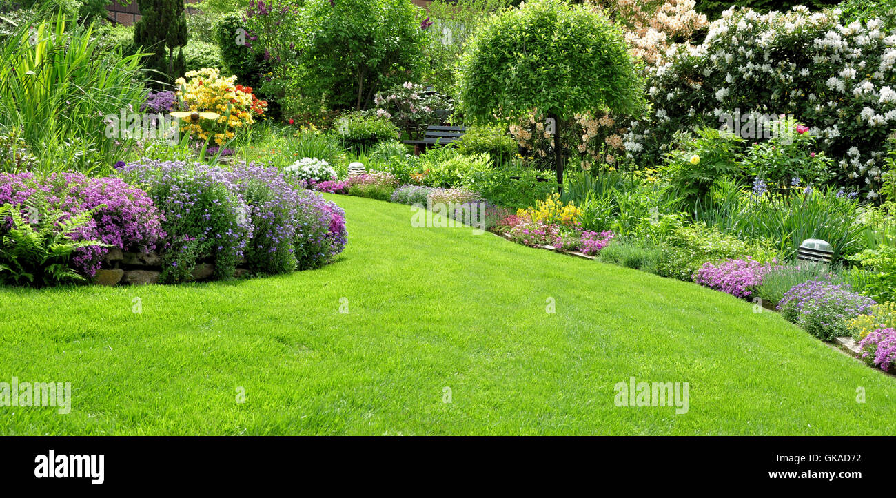 beautiful garden in the spring Stock Photo