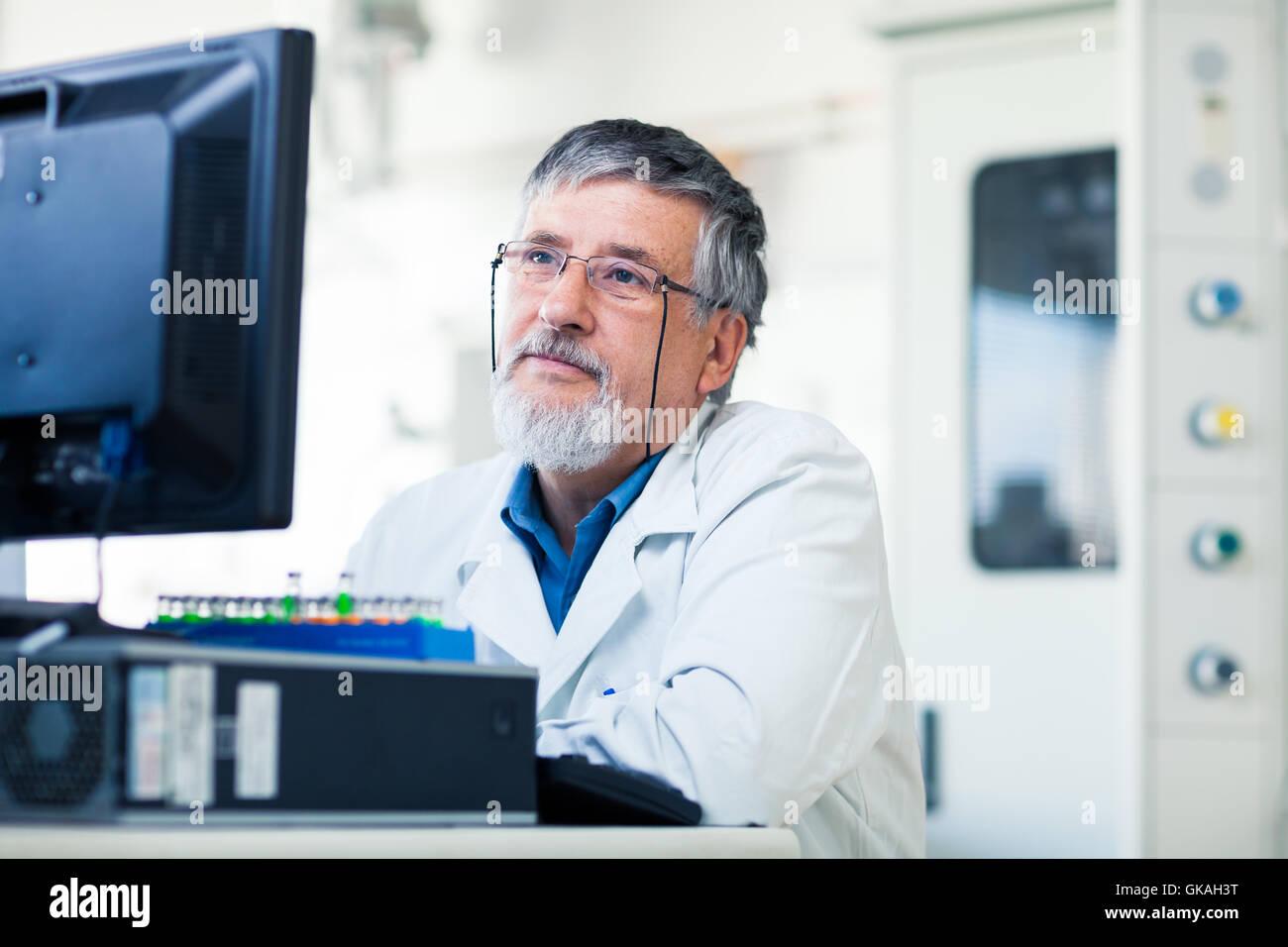 experiment chemist laboratory - Stock Image