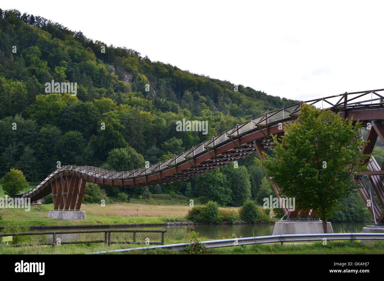 wood bridge style of construction - Stock Image