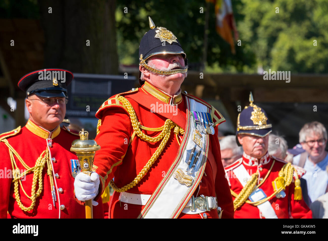Members of Yorkshire Volunteers Band at the opening of Shrewsbury Flower Show in the Quarry, Shropshire, England, Stock Photo