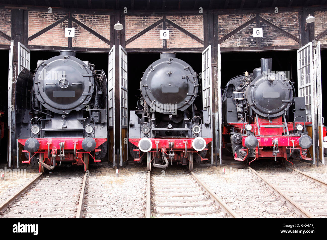 roundhouse with steam locomotives Stock Photo