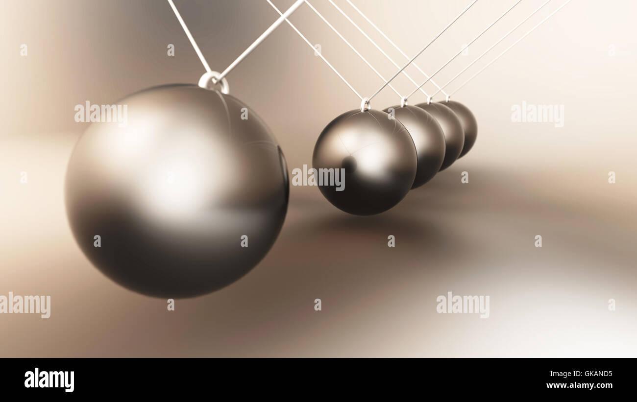 aluminium newton's cradle 3 - Stock Image