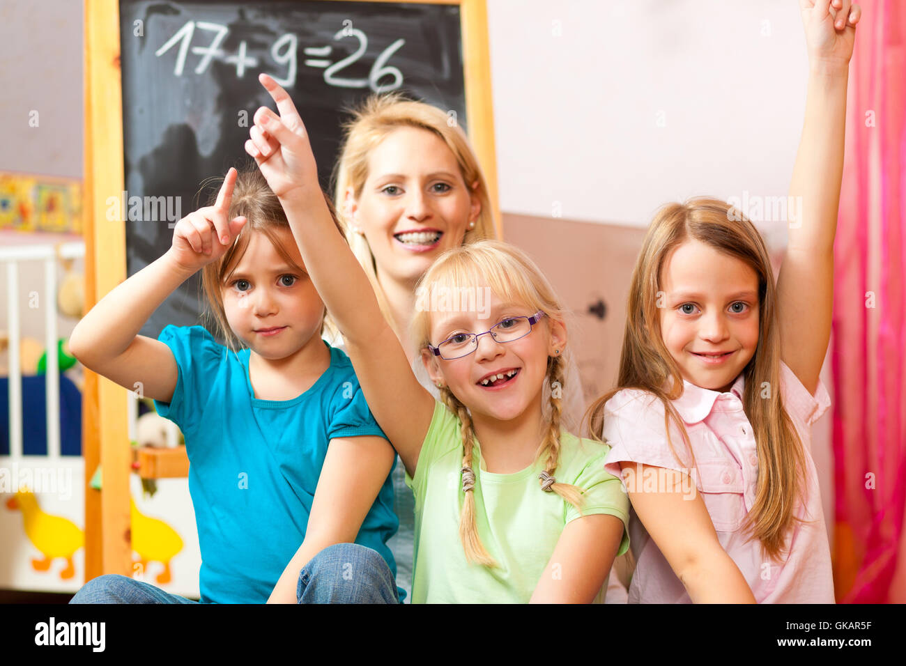 mother with schoolchildren - Stock Image