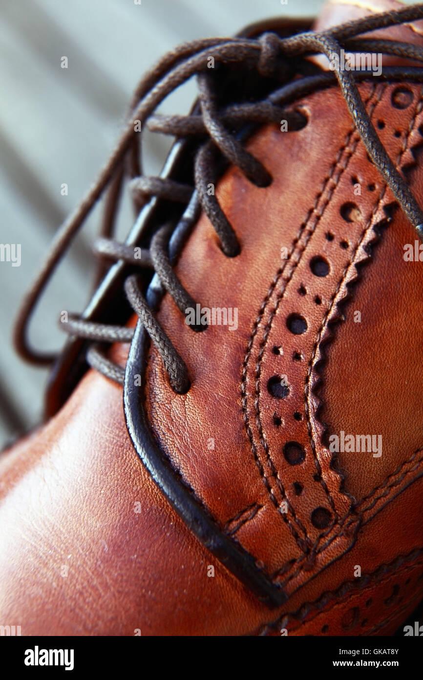 leather shoelace shoe - Stock Image