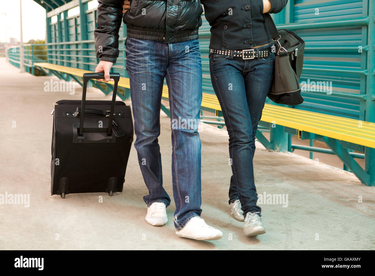guy woman station - Stock Image